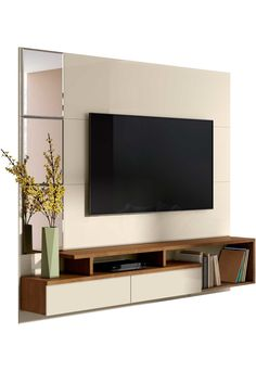 Orren Ellis Pullman Floating Entertainment Center for TVs up to 70 inches Colour: Off White/Nature Entertainment Wall Units, Living Room Entertainment Center, Floating Entertainment Center, Tv Unit Decor, Tv Wall Decor, Tv Rack Design, Tv Unit Bedroom, Wall Mounted Tv Unit, Small Tv Unit
