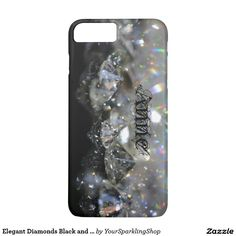 Elegant Diamonds Black and White Shiny Sparkles with custom Name Anne #Case
