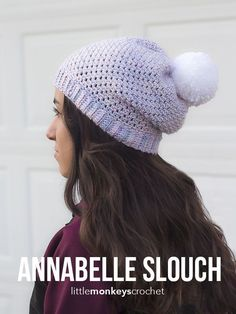 Annabelle Slouch Hat Crochet Pattern | Free button slouchy hat crochet pattern by Little Monkeys Crochet
