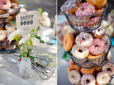 Could we make a sign like that for our donuts? Also, I want to find a tiered basket like that.