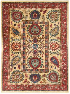 Suzani & Ikat Designs Gallery: Suzani Design Rug, Hand-knotted in Pakistan; size: 4 feet 6 inch(es) x 6 feet 1 inch(es)