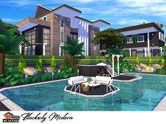autaki's Blacksoly Modern Sims 4 Modern House, Modern House Floor Plans, Sims 4 House Design, Modern Houses, Lotes The Sims 4, Sims New, Sims 4 House Plans, Sims 4 House Building, Modern Mansion Interior
