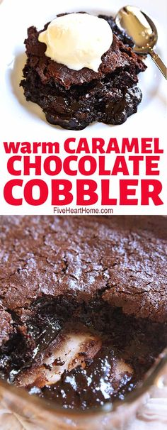Warm and gooey Chocolate Cobbler features moist chocolate cake floating on top of a caramel-streaked, coffee-laced, molten chocolate sauce! Köstliche Desserts, Chocolate Desserts, Delicious Desserts, Molten Chocolate, Dessert Recipes, Yummy Food, Chocolate Cake, Chocolate Chips, Cake Recipes