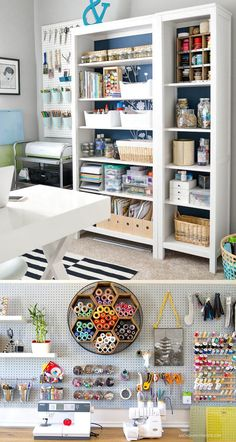 21 best DIY workshop & craft room ideas on creative storage & organization utilizing pegboards, shelving, closet & wall for a productive clutter free . 21 Inspiring Workshop and Craft Room Ideas for DIY Creatives Craft Room Shelves, Craft Room Storage, Craft Organization, Organizing Ideas, Organizing Clutter, Wall Storage, Ikea Craft Room, Craftroom Storage Ideas, Craft Storage Solutions