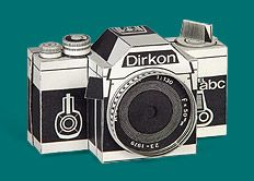DIY: Cut-Out Paper Camera. I know we all have our cell phone cameras at hand, but here is a fun retro take on making your own paper, pin-hole, camera. FREE downloadable template and instructions. Uses 35 mm film. Link on the webpage to see example photos taken from the Dirkon.