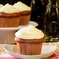 Merlot Cherry Cupcakes with Sweet White Frosting