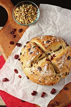 Cranberry walnut bread. This is one of my favorites! If you bake the loaves on a pizza stone, you will get a nice crunchy crust. Yum!