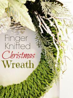Super easy DIY finger knitted wreath