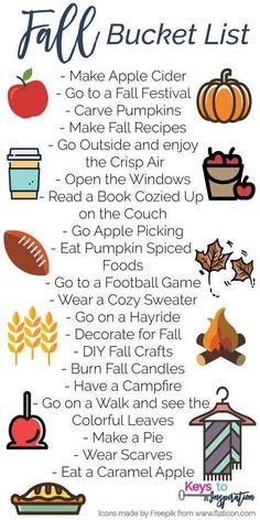 Halloween Bucket List, Hygge, Planner Stickers, Herbst Bucket List, Weather Crafts, Fun Fall Activities, Thanksgiving, Fall Diy, Fall Family