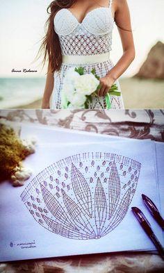 Knitting by a hook, spokes. A cup for a sundress a hook // Людмила Оношкина Crochet Lingerie, Crochet Beach Dress, Crochet Bikini Pattern, Crochet Halter Tops, Crochet Blouse, Crochet Lace, Crochet Designs, Crochet Patterns, Mode Crochet