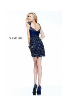 2014 Navy Embellished Fitted Dress by Sherri Hill 21197Outlet