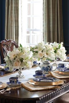Blue and White Tablescapes: