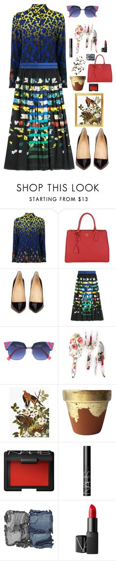 """""""Nighttime in the Garden"""" by marcusv ❤ liked on Polyvore featuring Versace, Prada, Christian Louboutin, Mary Katrantzou, MacKenzie-Childs, Kakao By K and NARS Cosmetics"""