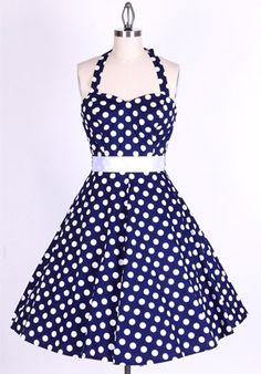 50s Polka Dot BigWhiteDots/Navy Blue Halterneck Swing Dress