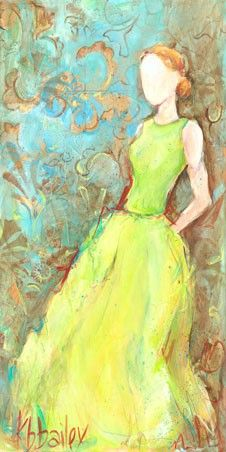 3.) Female form: Green Satin Gown