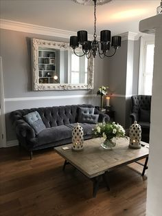 Grey Interior Design Tweed Tetrad Parquet Coffee Table. Ornate Large  Mirror, Loaf Bagsie Sofa