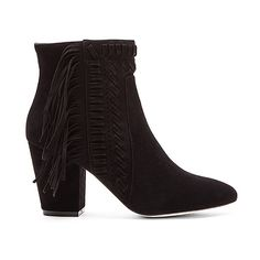 Rebecca Minkoff Ilan Bootie Shoes ($295) ❤ liked on Polyvore featuring shoes, boots, ankle booties, booties, bootie boots, high heel boots, side zipper boots, high heel short boots and fringe ankle boots