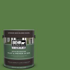 BEHR Premium Plus Ultra 1-gal. #440D-6 Grassy Field Semi-Gloss Enamel Exterior Paint