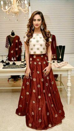 30 Latest Lehenga Saree Blouse Designs to inspire you - Wedandbeyond Lehenga Designs, Salwar Designs, Blouse Designs, Crop Top Designs, Indian Attire, Indian Wear, Indian Outfits, Indian India, Frock Design