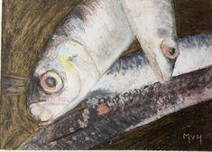 Detail vissen op een Portugese markt  | Detail fish on an Portuges market - oil pastel