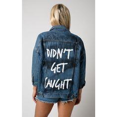 LIQUOR N POKER Liquor N Poker   Shana Didnt Get Caught Grafitti Denim... (100 BGN) ❤ liked on Polyvore featuring outerwear, jackets, blue, blue jackets, blue denim jacket, blue jean jacket, oversized denim jacket and oversized jacket