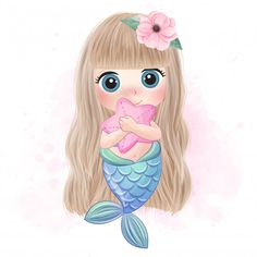 Cute mermaid hugging a little jellyfish Watercolor Flower Background, Watercolor Rose, Watercolor Illustration, Cute Mermaid, Mermaid Art, The Little Mermaid, Baby Mermaid, Baby Animal Drawings, Cute Drawings