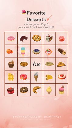 Favorite Desserts Bingo Instagram Story Templates Bingo Template, Instagram Questions, Photoshop Express, Getting To Know Someone, Instagram Challenge, Insta Icon, Get More Followers, Themes Photo, Best Templates