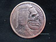 1 OZ Copper Hobo Buffalo Nickel with Skull Artwork!!! .999 Fine