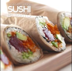 the Sushi Burrito. Sushi Recipes, Seafood Recipes, Asian Recipes, Cooking Recipes, Healthy Recipes, Sushi Burrito, Onigirazu, Food Combining, Fusion Food