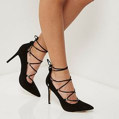 Black lace-up court heels