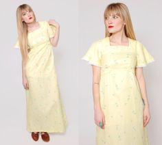 Vintage 70s Yellow Sun Dress  Empire Waist Hippie Maxi Dress by LotusvintageNY