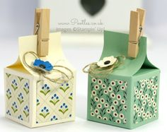 Stampin' Up! Demonstrator Pootles - Super Cute Mini Box Tutorial Ah a mini box. I know I certainly do, and when you can make a mini box to house a scrummy tr. Mini Milk, Milk Box, Stampin Up, Carton Box, Cute Box, Envelope Punch Board, Craft Box, Gift Packaging, Box Design