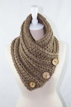 Crochet Button Scarf / Cowl / Neck Warmer by ElsieRaeBoutique
