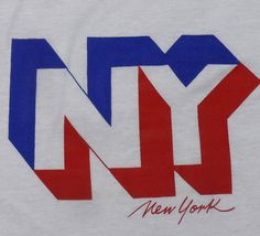 Vintage 70's 3D New York NY logo red white and blue