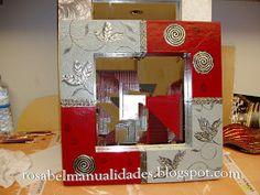 Mosaic Tile Art, Mirror Mosaic, Mirror Art, Mirror Crafts, Frame Crafts, Craft Frames, Diy Painting, Painting On Wood, Aluminum Foil Art