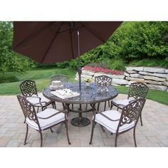 Outdoor Oakland Living Mississippi Cast Aluminum 60 in. Patio Dining Set with Tilt Umbrella and Stand - Seats 6 -