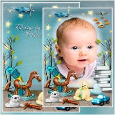 Children photo frame PSD template with children's toys download
