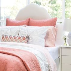 Bedroom inspiration and bedding decor   The Coral Morning Glory Sheet Sets   Crane and Canopy
