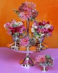 Silver tier flower centerpiece