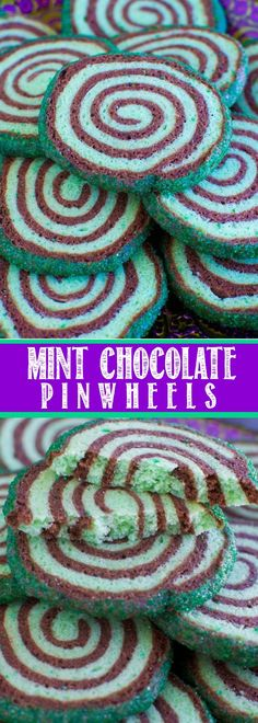Mint Chocolate Pinwheel Sugar Cookies!