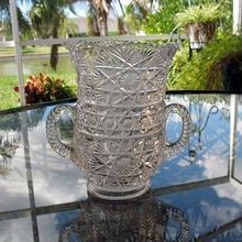 Bryce Higbee Celery Vase Double Handle EAPG Crystal 1907
