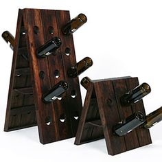 A classic wooden wine holder goes with any decor.  And it keeps the wine handy!