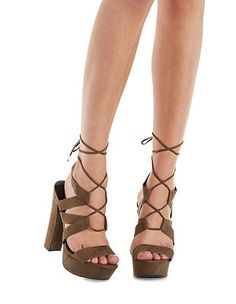 3b0a80e3275ae3 Lace-Up Chunky Platform Dress Sandals  Charlotte Russe