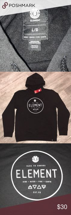 ELEMENT - PULLOVER HOODIE - LARGE **NEW WITH TAGS** SUCH A CLEAN BLACK AND WHITE COLOR COMBO BLACK HOODIES ARE ALWAYS DOPE TO ADD TO YOUR CLOSET SOLID BLACK BACK Element Shirts Sweatshirts & Hoodies
