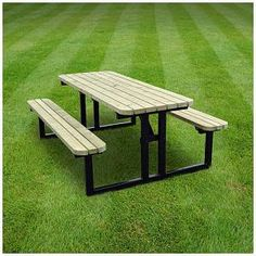Rutland County Garden Furniture - Steel Framed Tinwell Picnic Table - Heavy Duty Pub Style Bench - Ideal For Gardens And Patios ft, Rustic Brown) Wooden Side Table, Wooden Dining Tables, Outdoor Tables, Outdoor Island, Patio Tables, Round Picnic Table, Picnic Table Bench, Metal Picnic Tables, Steel Dining Table