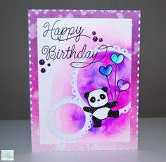 Happy Birthday | Mama Elephant #mamaelephant #averyelle #lawnfawn #postagestamp #panda #panamonium #birthday #zigcleancolorrealbrush #distressink #watercoloring #nuvoglitterdrops #handmade #cardmaking #creative #crafty #stamping #diecutting #lbcardcreations