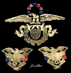 Vintage Signed Joseff of Hollywood Patriotic Theme Eagle Pin & Earrings http://www.jeweldiva.com/vintage-signed-joseff-patriotic-theme-eagle-pin-earrings.html