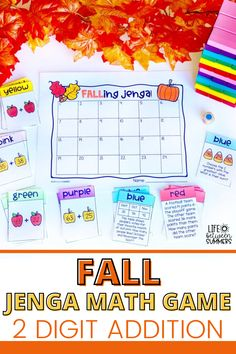 This fun and engaging fall Jenga math game is perfect for spicing up math centers, math workshop, math review, or test prep in the fall. It also makes for great math center rotations at a class party. This 2 digit addition and subtraction within 100 math game has Common Core aligned questions. Students get to practice their math facts with this hands-on math game. Use this math activity for first grade and second grade students to practice 2 digit addition and subtraction today!