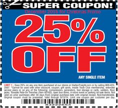 free Harbor Freight coupons december 2016