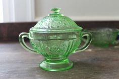 Federal Glass Sharon Green Footed Sugar Bowl